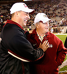 FSU head coach Bobby Bowden (R) and Boston College head coach Jeff Jagodzinski prior to the start of their NCAA football game at Bobby Bowden field on the Florida State University campus in Tallahassee, Florida November 15, 2008.   (Mark Wallheiser/TallahasseeStock.com)