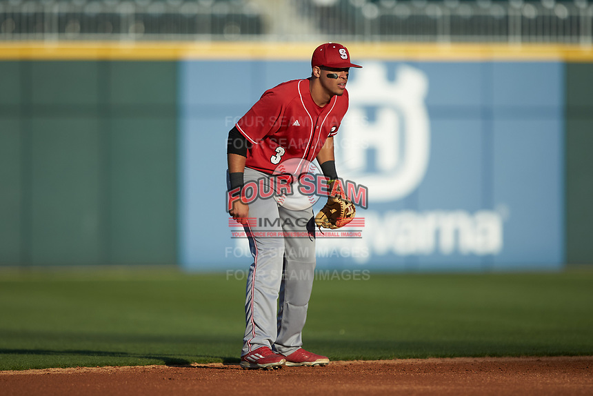North Carolina State Wolfpack shortstop Joe Dunand (3) on defense against the Charlotte 49ers at BB&T Ballpark on March 29, 2016 in Charlotte, North Carolina. The Wolfpack defeated the 49ers 7-1.  (Brian Westerholt/Four Seam Images)