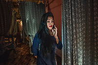 India, Maharashtra, Mumbai, Bombay, red light district. Najma, one of many Eunuch sex workers in her brothel on Falkland Road.