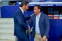 22nd September 2021: RCDE Stadium, Barcelona, Spain: La Liga Football, Espanyol versus Atletico Madrid; <br /> Vicente Moreno greets Javi Calleja manager of Deportivo Alavés