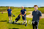 Enjoying a round of golf at the Ballyheigue Golf course on the reopening of the Golf Club on Monday. Front right: Cian Foran. Back l to r: Evan Murphy and Sonny Foran enjoying their golf in Ballyheigue on Monday.