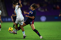 ORLANDO CITY, FL - FEBRUARY 24: Sophia Smith #17 of the USWNT defends the ball during a game between Argentina and USWNT at Exploria Stadium on February 24, 2021 in Orlando City, Florida.