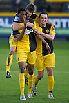 Southport v Luton. Blue Square Premier League at Haig Avenue Southport  21.1.12. Southport players celebrate after going 2-0 up against Luton Town.Vinny Mukendi sored.