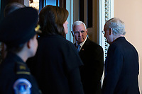 United States Vice President Mike Pence and United States Senate Majority Leader Mitch McConnell (Republican of Kentucky) enter the Republican Senate luncheons on Capitol Hill in Washington D.C., U.S., on Tuesday, November 5, 2019.<br />  <br /> Credit: Stefani Reynolds / CNP /MediaPunch