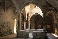 Europe/France/Provence-Alpes-Côte d'Azur/06/Alpes-Maritimes/Env de Cannes/Iles de Lérins/Ile de St Honorat: Le cloître du monastère fortifié construit par Aldebert II en 1073 et achevé en 1215