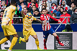Francisco Aday Benitez (C) of Girona FC fights for the ball with Lucas Hernandez (R) of Atletico de Madrid during the La Liga 2017-18 match between Atletico de Madrid and Girona FC at Wanda Metropolitano on 20 January 2018 in Madrid, Spain. Photo by Diego Gonzalez / Power Sport Images