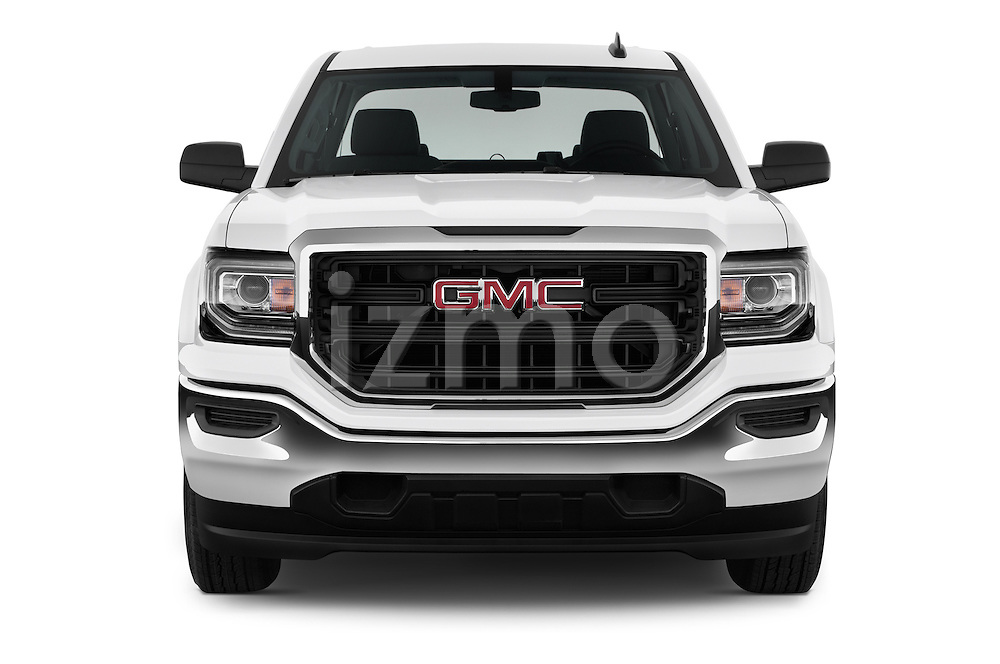 Car photography straight front view of a 2016 GMC Sierra 1500 2WD Double Cab Standard Box SLE 4 Door Pick-up Front View