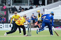 Charlie Dean, London Spirit survives a runout chance from Rachel Priest, Trent Rockets during London Spirit Women vs Trent Rockets Women, The Hundred Cricket at Lord's Cricket Ground on 29th July 2021
