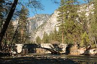 A  stone bridge crosses the Merced River in Yosemite National Park in California November 2008. (Photo Copyright Alan Greth)
