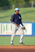 Charlotte Stone Crabs shortstop Lucius Fox (2) during the first game of a doubleheader against the St. Lucie Mets on April 24, 2018 at First Data Field in Port St. Lucie, Florida.  St. Lucie defeated Charlotte 5-3.  (Mike Janes/Four Seam Images)