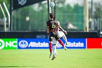 LAKE BUENA VISTA, FL - JULY 16: Fernando Meza #6 of Atlanta United heads the ball during a game between FC Cincinnati and Atlanta United FC at Wide World of Sports on July 16, 2020 in Lake Buena Vista, Florida.