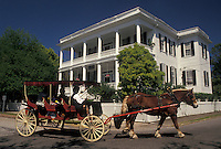 horse-drawn carriage, Beaufort, South Carolina, Historic Bed and Breakfast, SC, Carriage Tour in front of Bay Street Inn Bed & Breakfast in the Historic District in the town of Beaufort in the spring.