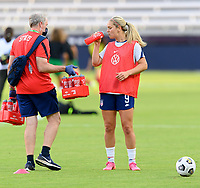 HOUSTON, TX - JUNE 10: Lindsey Horan #9 of the United States taking a water break before a game between Portugal and USWNT at BBVA Stadium on June 10, 2021 in Houston, Texas.