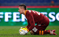 Calcio, ottavi di finale di Coppa Italia Tim: Roma vs Sampdoria. Roma, stadio Olimpico, 9 gennaio 2014.<br /> AS Roma goalkeeper Lukasz Skorupski, of Poland, grabs the ball during the Italy Cup round of sixteen football match between AS Roma and Sampdoria at Rome's Olympic stadium, 9 January 2014.<br /> UPDATE IMAGES PRESS/Isabella Bonotto
