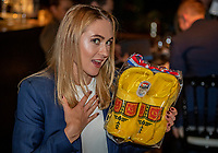 The Hague, The Netherlands, Februari 5, 2020,    Penthouse, FedCup  Netherlands -  Balarus, Official Dinner,  Belarus table Olga Govortsova receiver cloggs, (wooden Shoes)<br /> Photo: Tennisimages/Henk Koster