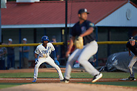 Maikel Garcia (2) of the Burlington Royals takes his lead off of first base against the Pulaski Yankees at Burlington Athletic Stadium on August 25, 2019 in Burlington, North Carolina. The Yankees defeated the Royals 3-0. (Brian Westerholt/Four Seam Images)