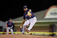 Lowell Spinners relief pitcher Juan Florentino (35) delivers a pitch during a game against the Batavia Muckdogs on July 11, 2017 at Dwyer Stadium in Batavia, New York.  Lowell defeated Batavia 5-2.  (Mike Janes/Four Seam Images)