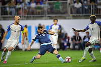 Houston, TX - Tuesday June 21, 2016: Michael Bradley, Lionel Messi, Gyasi Zardes during a Copa America Centenario semifinal match between United States (USA) and Argentina (ARG) at NRG Stadium.