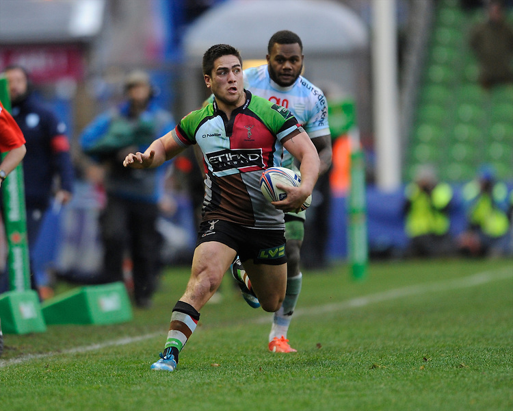 Ben Botica of Harlequins in action during the Heineken Cup match between Harlequins and Racing Metro 92 at the Twickenham Stoop on Sunday 15th December 2013 (Photo by Rob Munro)