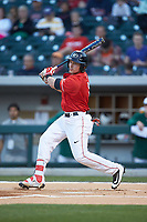 Skyler Weber (1) of the Georgia Bulldogs follows through on his swing against the Charlotte 49ers at BB&T Ballpark on March 8, 2016 in Charlotte, North Carolina. The 49ers defeated the Bulldogs 15-4. (Brian Westerholt/Four Seam Images)