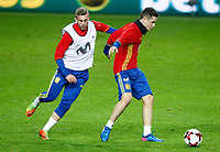 Spain's Gerard Deulofeu (l) and Ander Herrera during training session. March 23,2017.(ALTERPHOTOS/Acero)