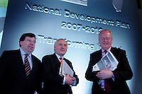 23/1/07 Taoiseach Bertie Ahern with Tainiste Michael McDowell and Minister for Finance Brian Cowen at the launch of the National Development Plan 2007 to 2013 at Dublin Castle .Picture:Arthur Carron/Collins