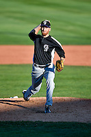 Heath Holder (26) of the Grand Junction Rockies delivers a pitch to the plate against the Orem Owlz in Pioneer League action at Home of the Owlz on July 6, 2016 in Orem, Utah. The Owlz defeated the Rockies 9-1 in Game 1 of the double header.  (Stephen Smith/Four Seam Images)
