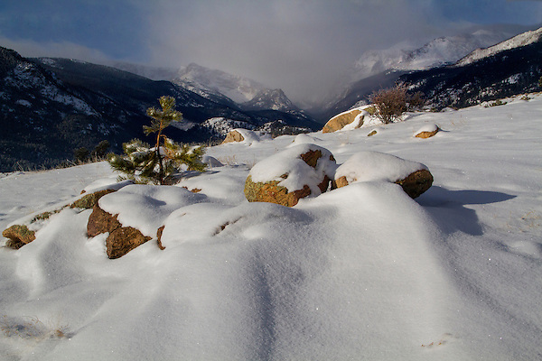 Moraine Park and Spruce Canyon in winter, Rocky Mountain National Park. <br /> John offers year-round photo tours and snowshoe hikes.