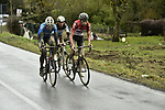 Tiesj Benoot (BEL) Lotto Soudal attacks with Romain Bardet (FRA) AG2R La Mondiale and Cyclocross World Champion Wout Van Aert (BEL) Verandas Willems-Crelan during the 2018 Strade Bianche Men Elite NamedSport race running 184km from Siena to Siena, Tuscany, Italy. 3rd March 2018.<br /> Picture: LaPresse/Fabio Ferrari | Cyclefile<br /> <br /> <br /> All photos usage must carry mandatory copyright credit (© Cyclefile | LaPresse/Fabio Ferrari)