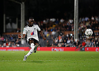 21st September 2021; Craven Cottage, Fulham, London, England; EFL Cup Football Fulham versus Leeds; Neeskens Kebano of Fulham taking a free kick