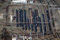 aerial photograph of the railroad tanker cars located adjacent to the Chevron Richmond Refinery, Richmond, California