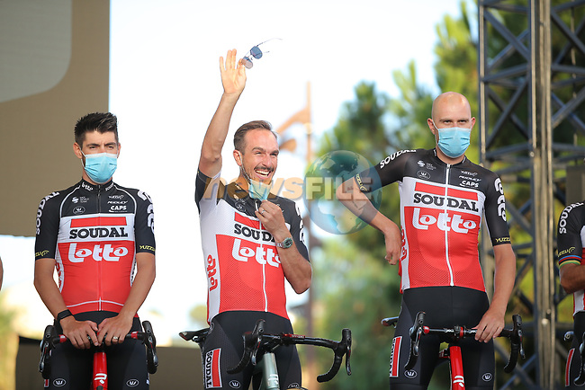 John Degenkolb (GER) and Lotto-Soudal on stage at the team presentation before the Tour de France 2020, Nice, France. 27th August 2020.<br /> Picture: ASO/Thomas Maheux | Cyclefile<br /> All photos usage must carry mandatory copyright credit (© Cyclefile | ASO/Thomas Maheux)