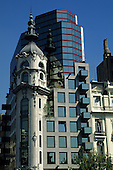 Buenos Aires, Argentina. Modern office building incorporating the tower from an old building in the Plaza de Mayo.