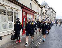 Photo: Richard Lane/Richard Lane Photography. Bath Rugby v Wasps. Aviva Premiership. 04/02/2017. Wasps players walk to the ground ahead of kick off.