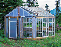 Greenhouse made with old windows. Gracious House Lodge, Alaska