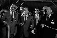 29 Septembre 1987. Vue de Dominique Baudis, François Mitterand et Gérard Bapt pour l'inauguration du SITEF au parc des Expositions.