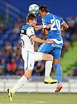 Getafe CF's Nemanja Maksimovic (r) and Atalanta BC's Marten De Roon during friendly match. August 10,2019. (ALTERPHOTOS/Acero)