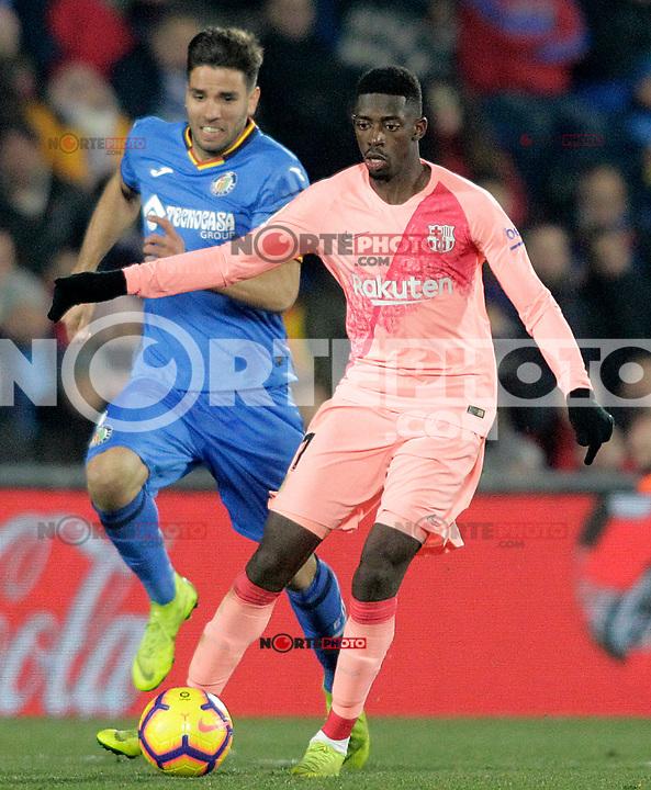 Getafe CF's Leandro Cabrera (l) and FC Barcelona's Ousmane Dembele during La Liga match. January 6,2019. (ALTERPHOTOS/Acero) /NortePhoto.com