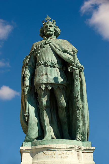 Statue of King Nagy Lajos (1466 - 1452) H?sök tere, ( Heroes Square ) Budapest Hungary