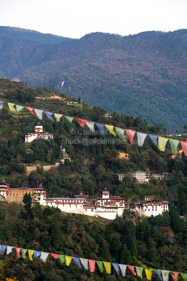 Trongsa, Bhutan.  Trongsa Dzong (Monastery-Fortress) in Late Afternoon.  Trongsa Royal Heritage Museum mid-left.