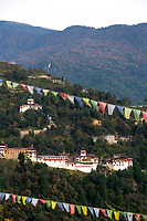 Trongsa, Bhutan.  Trongsa Dzong (Monastery-Fortress) in Late Afternoon.  Trongsa Royal Heritage Museum mid-left.