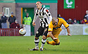 MOTHERWELL'S MICHAEL HIGDON HEADS PAST THE POST AS ST MIRREN'S DAVID BARRON CHALLENGES..17/12/2011 sct_jsp002_motherwell_v_st_mirren     .Copyright  Pic : James Stewart.James Stewart Photography 19 Carronlea Drive, Falkirk. FK2 8DN      Vat Reg No. 607 6932 25.Telephone      : +44 (0)1324 570291 .Mobile              : +44 (0)7721 416997.E-mail  :  jim@jspa.co.uk.If you require further information then contact Jim Stewart on any of the numbers above.........
