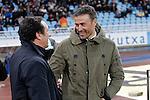Real Sociedad's coach Eusebio Sacristan (l) and FC Barcelona's coach Luis Enrique Martinez during La Liga match. April 9,2016. (ALTERPHOTOS/Acero)