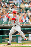 Mike Trout (27) of the Los Angeles Angels at bat against the Detroit Tigers at Comerica Park on June 25, 2013 in Detroit, Michigan.  The Angels defeated the Tigers 14-8.  (Brian Westerholt/Four Seam Images)
