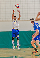 22 February 2015: Yeshiva University Maccabee Libero Mishael Miller, a Senior from Chicago, IL, in action against the Sage College Gators at the Kahl Gymnasium, in Albany, NY. The Maccabees fell to the Gators 3-0 in NCAA Division III Men's Volleyball Skyline play. Mandatory Credit: Ed Wolfstein Photo *** RAW (NEF) Image File Available ***