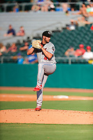 Rocket City Trash Pandas pitcher Luke Leftwich (40) delivers a pitch to the plate against the Tennessee Smokies at Smokies Stadium on July 2, 2021, in Kodak, Tennessee. (Danny Parker/Four Seam Images)