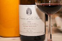 Cuvee Coume Pascole. Domaine de la Rectorie. Roussillon. France. Europe. Bottle. Wine glass.