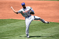 St. Lucie Mets shortstop Amed Rosario (11) throws to first during a game against the Bradenton Marauders on April 12, 2015 at McKechnie Field in Bradenton, Florida.  Bradenton defeated St. Lucie 7-5.  (Mike Janes/Four Seam Images)