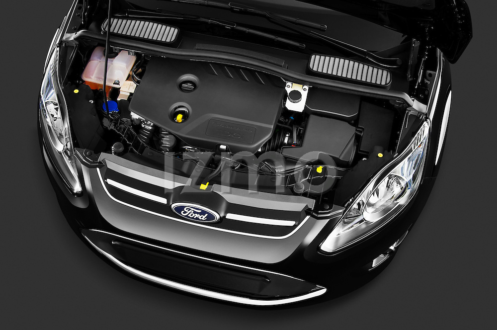 High angle engine detail of a 2011 Ford Grand C-Max Titanium Mini MPV
