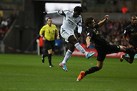 Wednesday, 01 January 2014<br /> Pictured: Wilfried Bony (L).<br /> Re: Barclay's Premier League, Swansea City FC v Manchester City at the Liberty Stadium, south Wales.